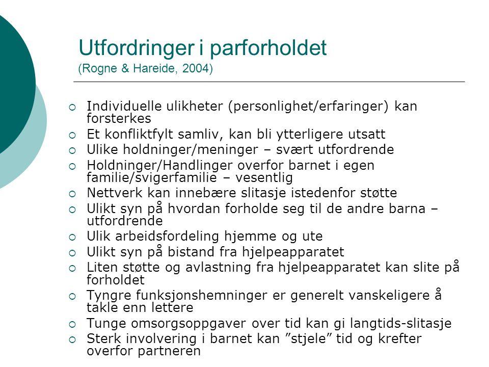 Utfordringer i parforholdet (Rogne & Hareide, 2004)