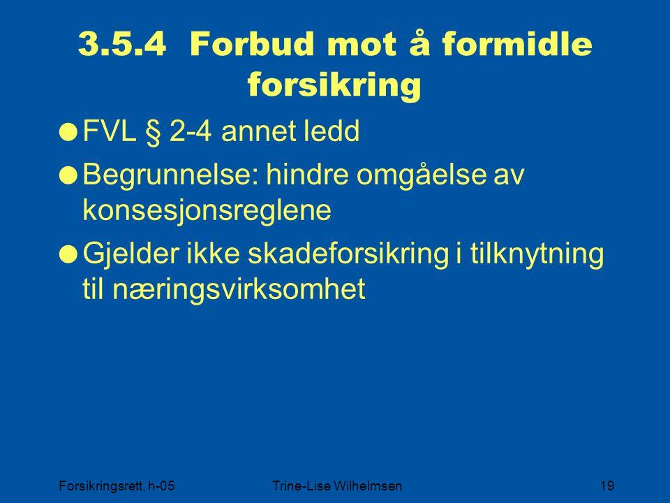 3.5.4 Forbud mot å formidle forsikring