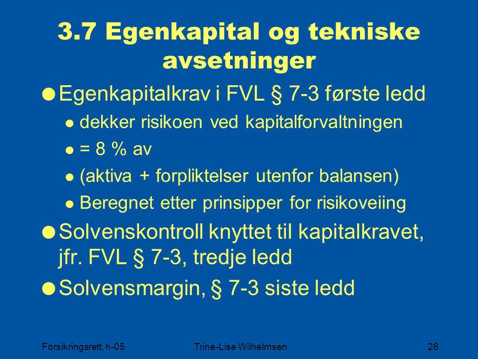3.7 Egenkapital og tekniske avsetninger