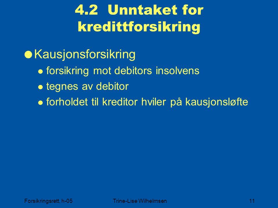 4.2 Unntaket for kredittforsikring