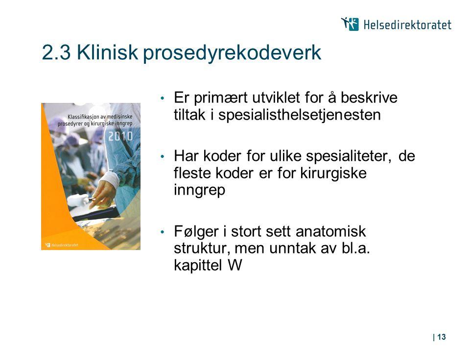 2.3 Klinisk prosedyrekodeverk