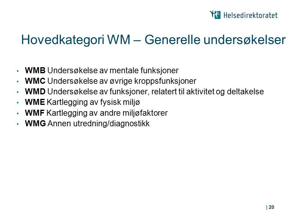 Hovedkategori WM – Generelle undersøkelser