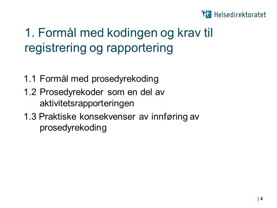 1. Formål med kodingen og krav til registrering og rapportering