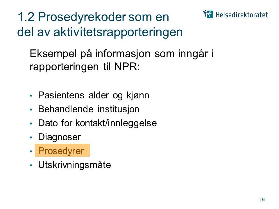 1.2 Prosedyrekoder som en del av aktivitetsrapporteringen