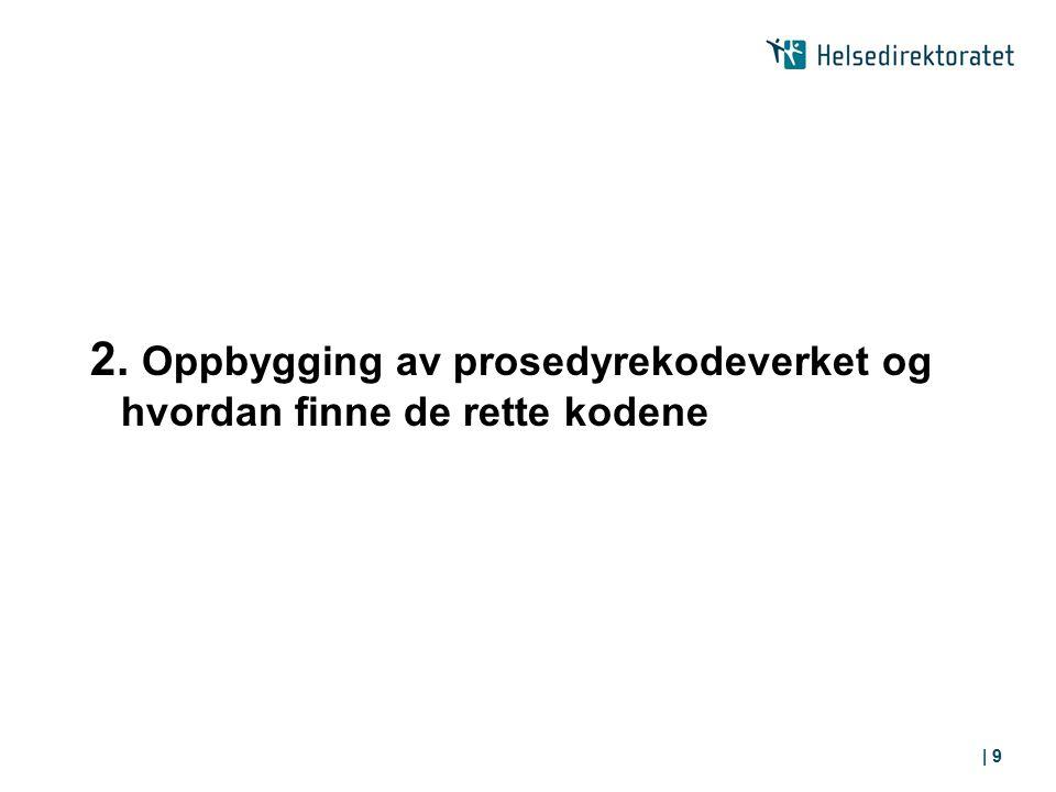 2. Oppbygging av prosedyrekodeverket og hvordan finne de rette kodene
