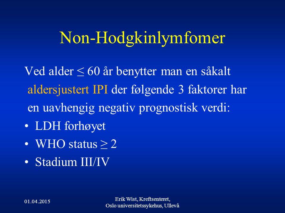 Non-Hodgkinlymfomer Ved alder ≤ 60 år benytter man en såkalt