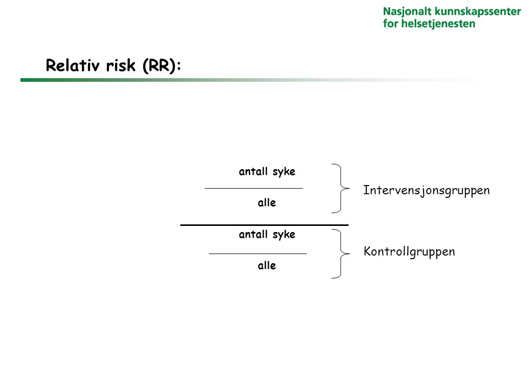 Relativ risk (RR): Intervensjonsgruppen Kontrollgruppen antall syke