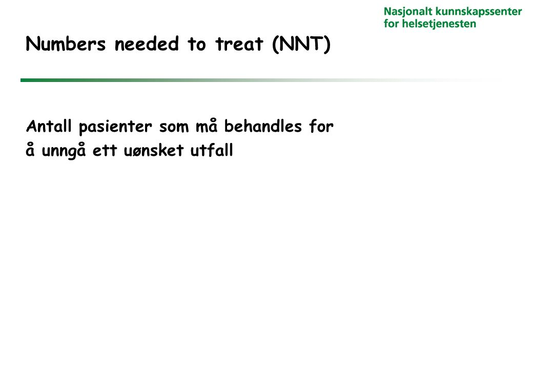 Numbers needed to treat (NNT)