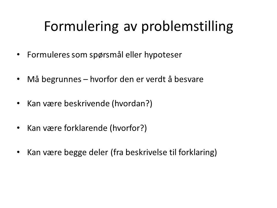 Formulering av problemstilling