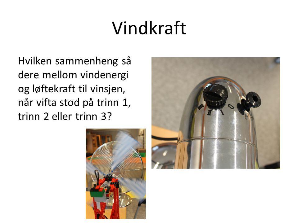 Vindkraft Hvilken sammenheng så dere mellom vindenergi og løftekraft til vinsjen, når vifta stod på trinn 1, trinn 2 eller trinn 3