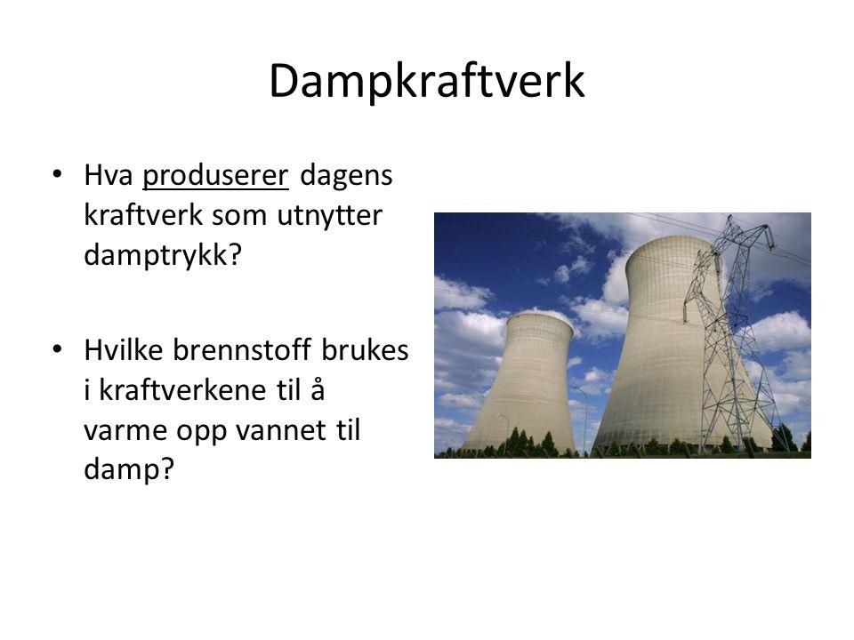 Dampkraftverk Hva produserer dagens kraftverk som utnytter damptrykk