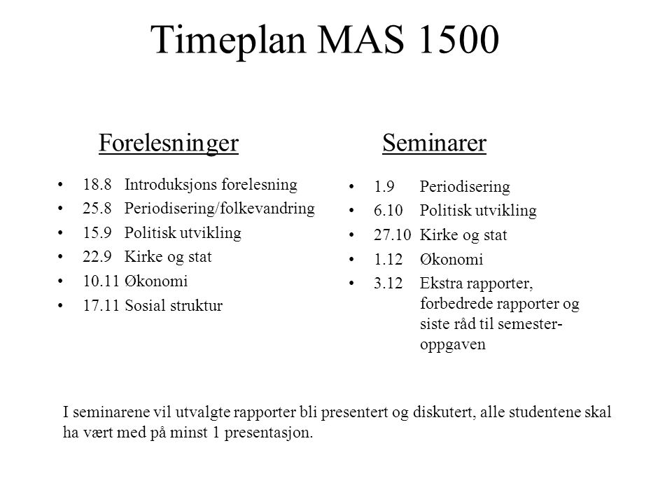 Timeplan MAS 1500 Forelesninger Seminarer