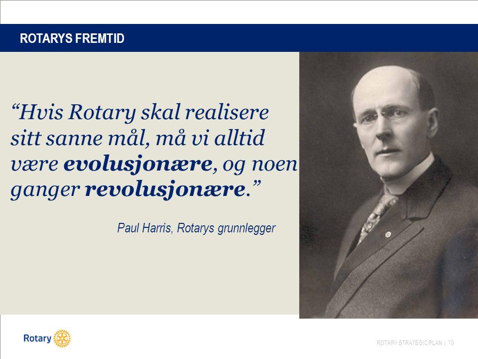 ROTARYS FREMTID Hvis Rotary skal realisere sitt sanne mål, må vi alltid være evolusjonære, og noen ganger revolusjonære.