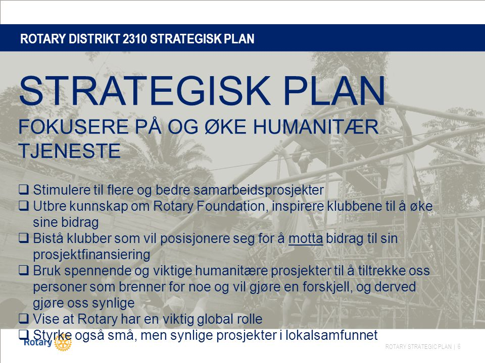 ROTARY DISTRIKT 2310 STRATEGISK PLAN