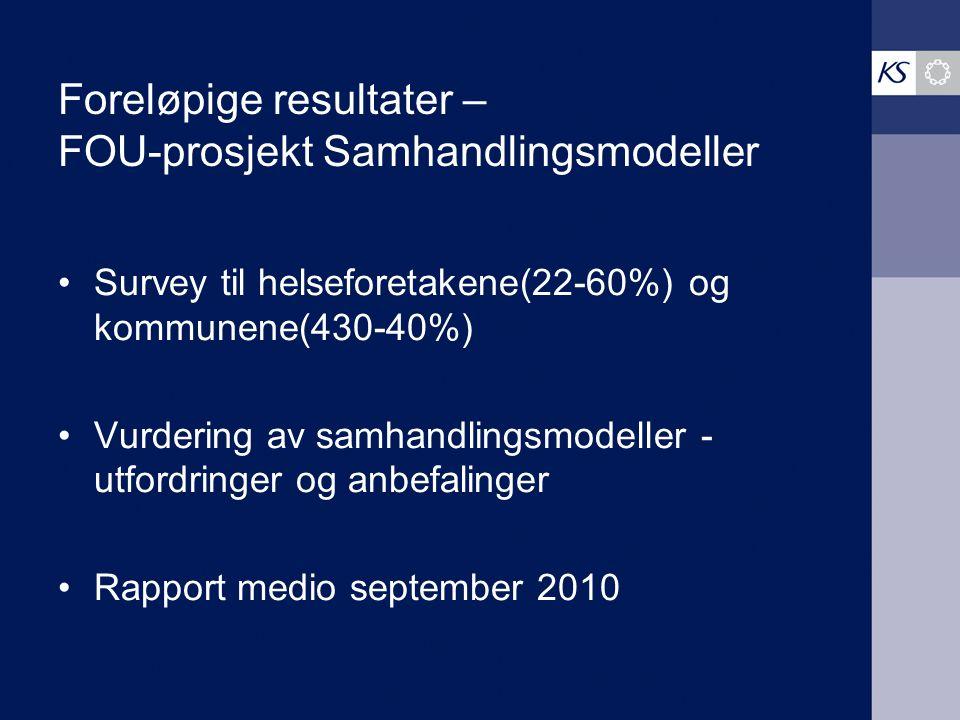 Foreløpige resultater – FOU-prosjekt Samhandlingsmodeller