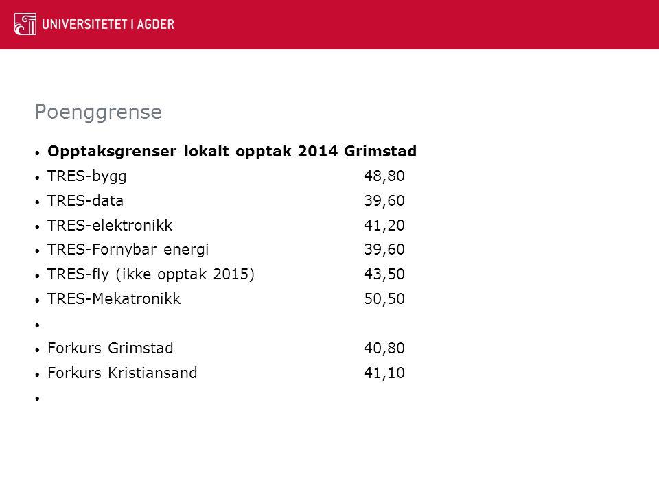Poenggrense Opptaksgrenser lokalt opptak 2014 Grimstad TRES-bygg 48,80