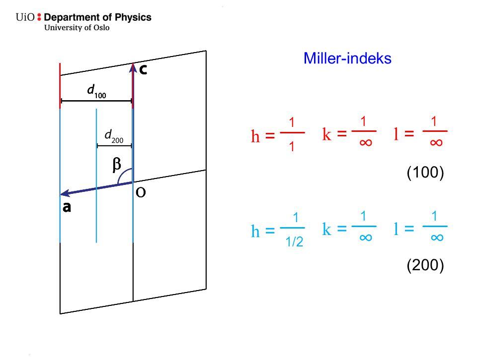 ∞ ∞ ∞ ∞ h = k = l = h = k = l = Miller-indeks (100) (200) 1 1 1 1 1/2