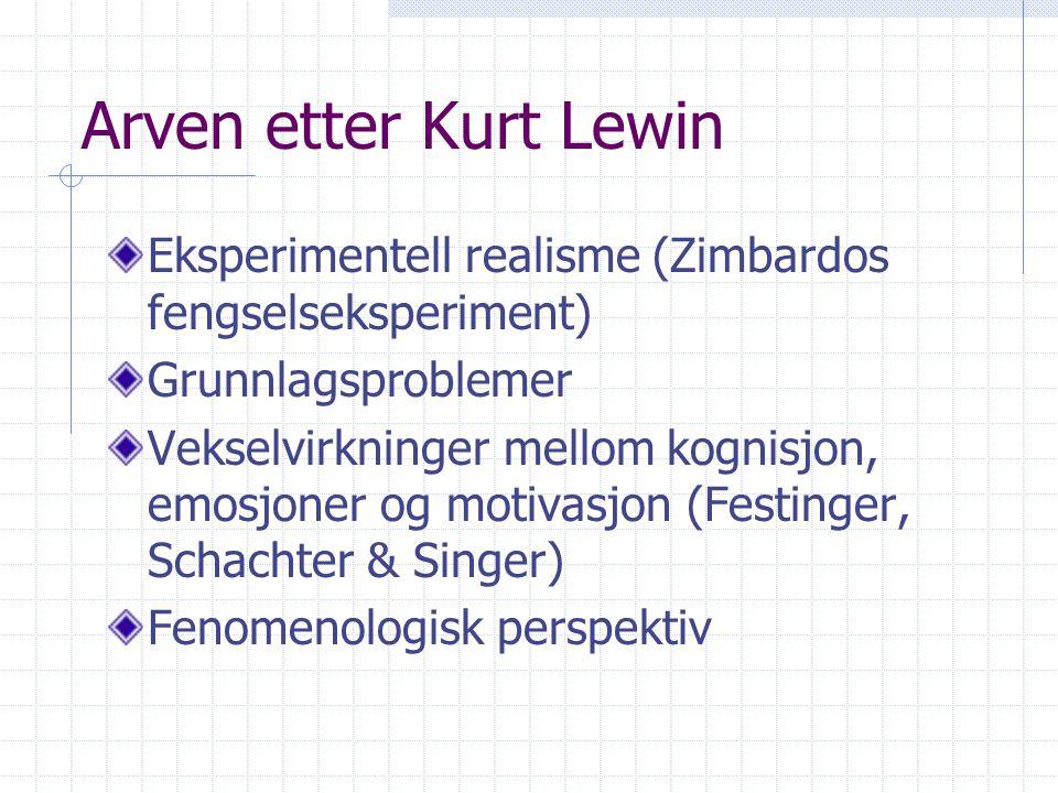 Arven etter Kurt Lewin Eksperimentell realisme (Zimbardos fengselseksperiment) Grunnlagsproblemer.