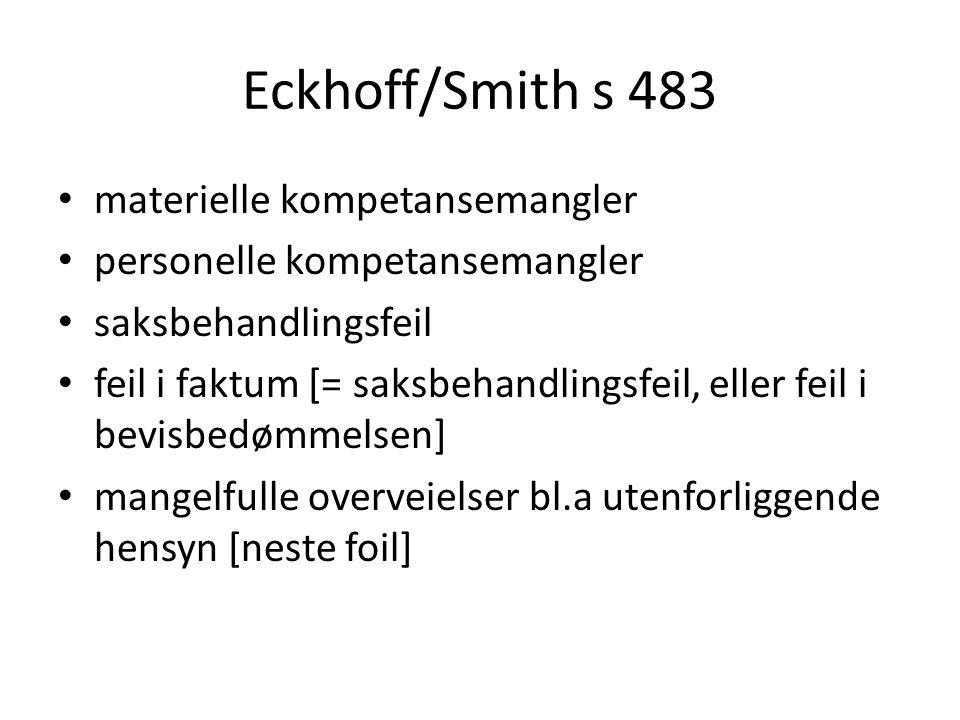 Eckhoff/Smith s 483 materielle kompetansemangler