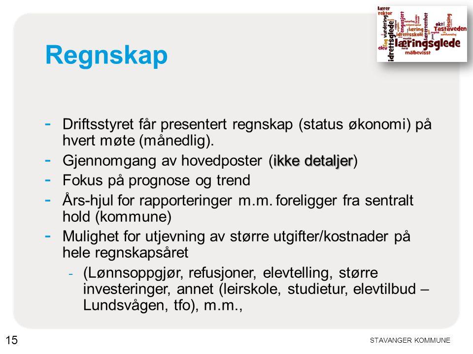 10.04.2017 Regnskap. Driftsstyret får presentert regnskap (status økonomi) på hvert møte (månedlig).