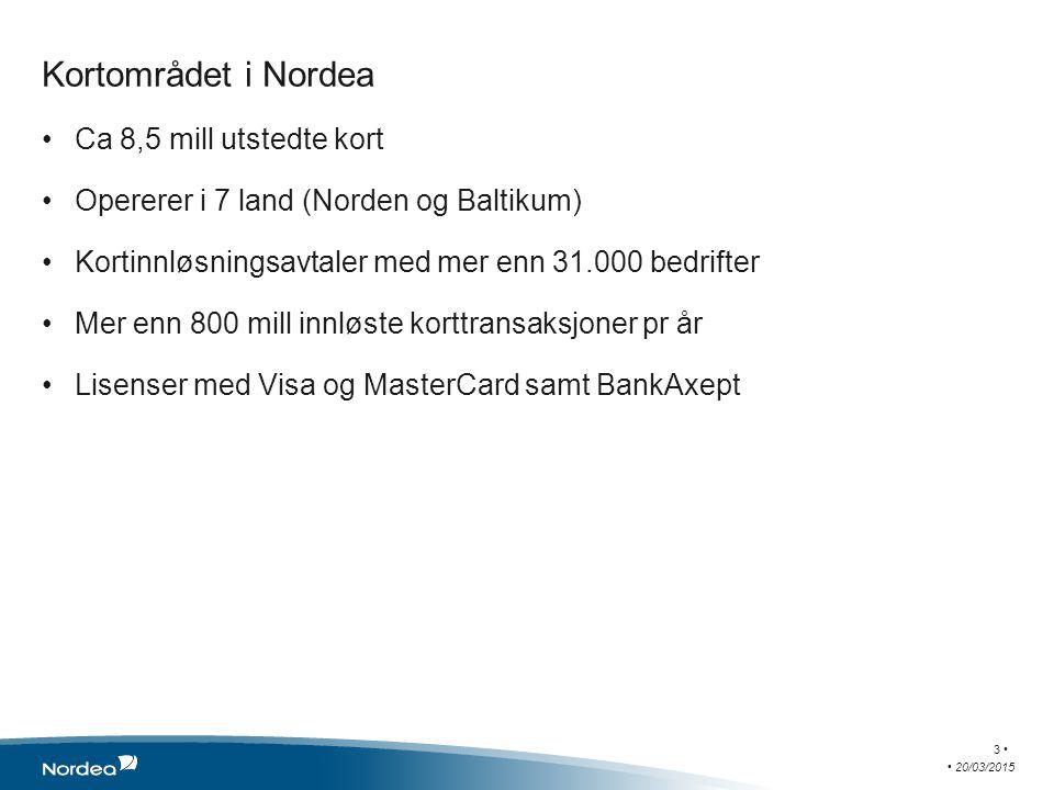 Kortområdet i Nordea Ca 8,5 mill utstedte kort