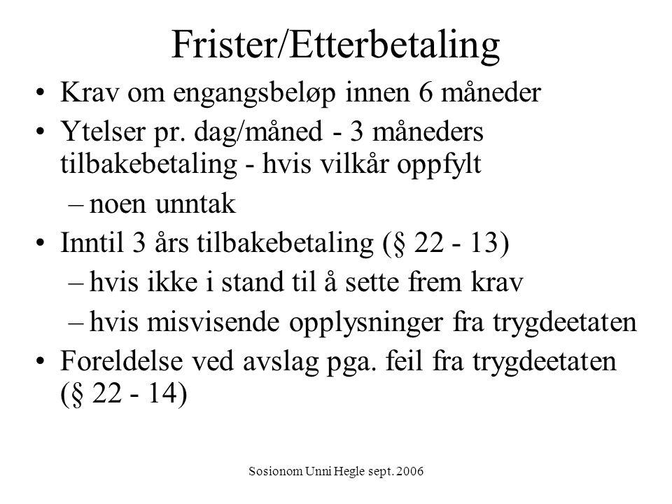 Frister/Etterbetaling