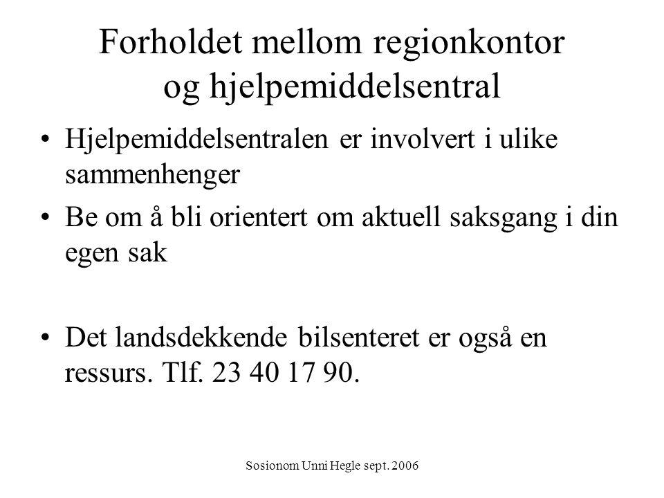 Forholdet mellom regionkontor og hjelpemiddelsentral