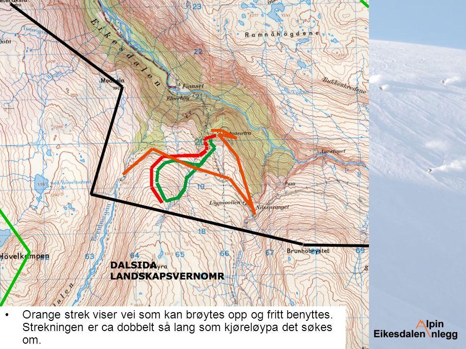 Vinteren 2006 Kjøreveg (rød) Preparering av trase (grønn)