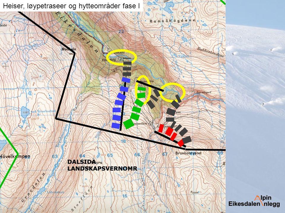 Heiser, løypetraseer og hytteområder fase I