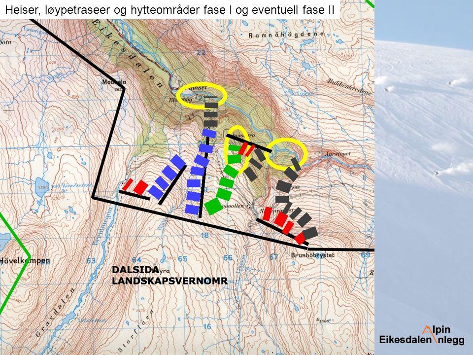 Heiser, løypetraseer og hytteområder fase I og eventuell fase II