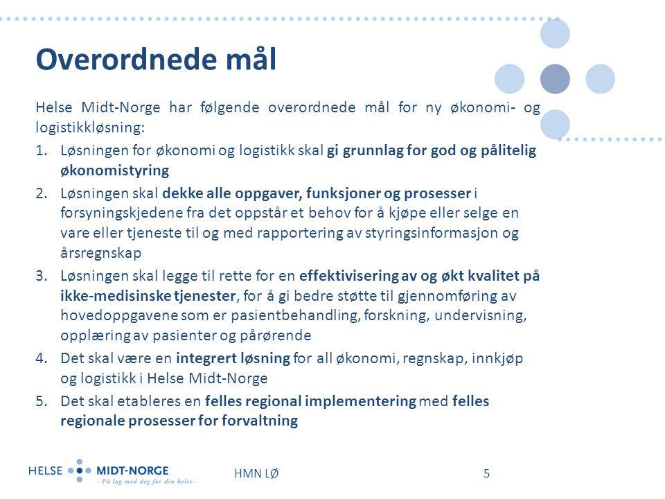 Overordnede mål Helse Midt-Norge har følgende overordnede mål for ny økonomi- og logistikkløsning: