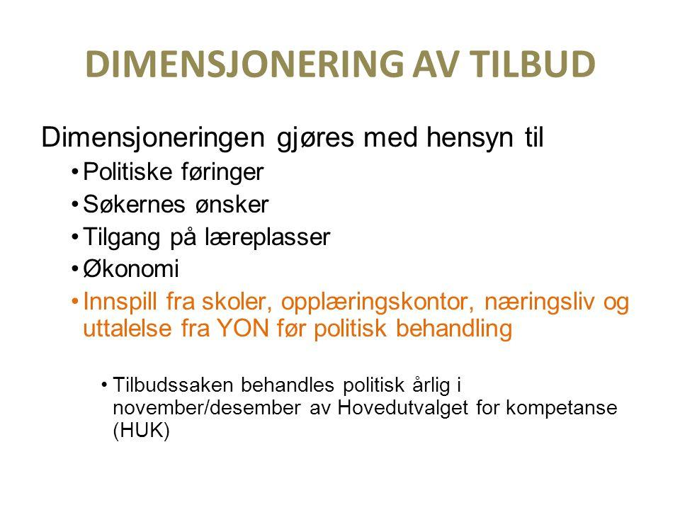 DIMENSJONERING AV TILBUD