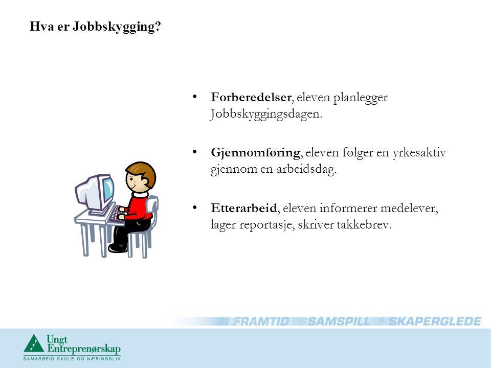 Hva er Jobbskygging Forberedelser, eleven planlegger Jobbskyggingsdagen. Gjennomføring, eleven følger en yrkesaktiv gjennom en arbeidsdag.