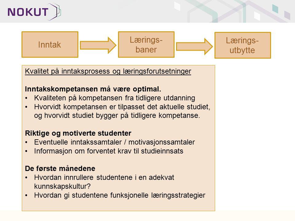 Lærings-baner Lærings-utbytte Inntak
