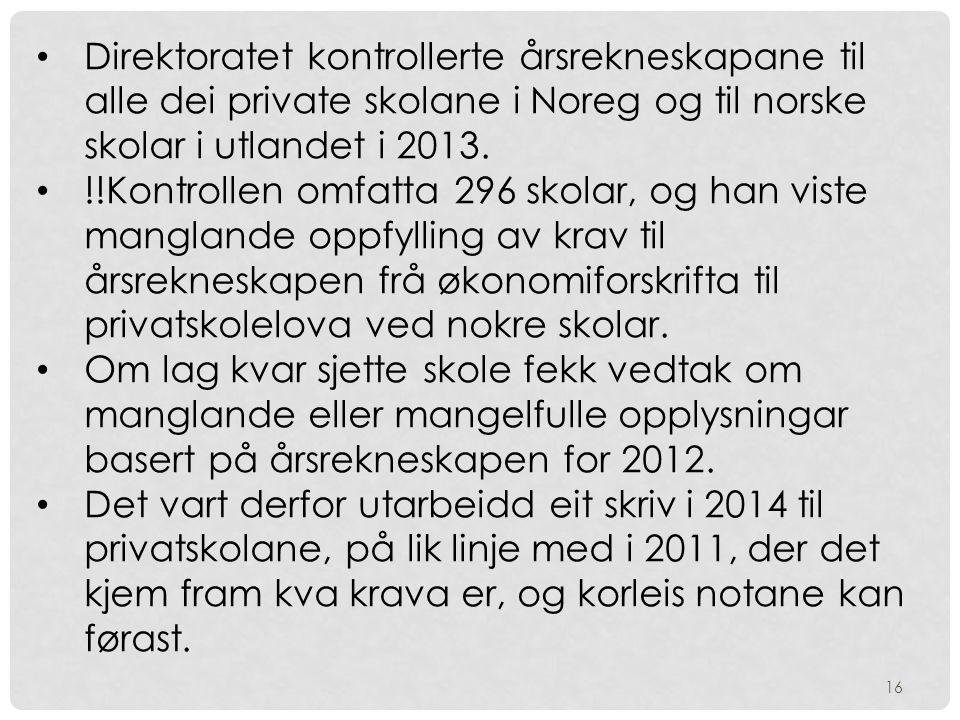 Direktoratet kontrollerte årsrekneskapane til alle dei private skolane i Noreg og til norske skolar i utlandet i 2013.