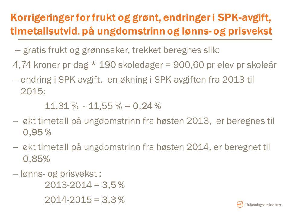 Korrigeringer for frukt og grønt, endringer i SPK-avgift, timetallsutvid. på ungdomstrinn og lønns- og prisvekst
