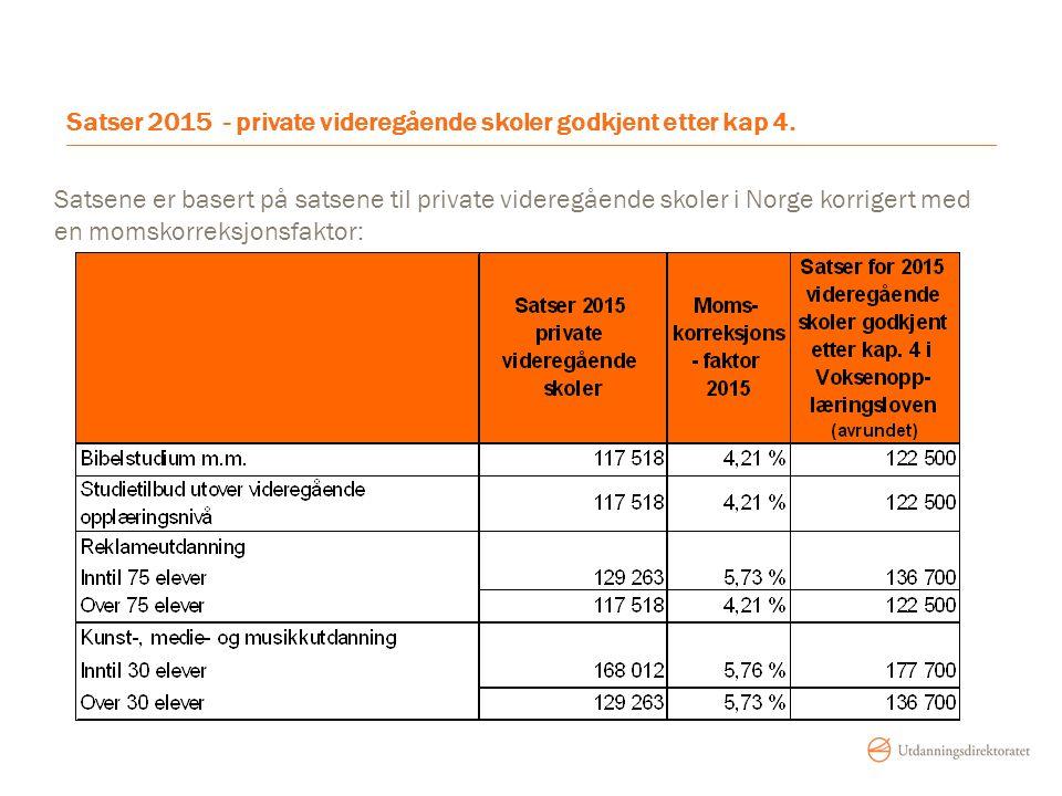 Satser 2015 - private videregående skoler godkjent etter kap 4.