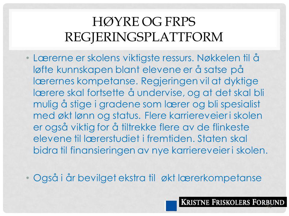 Høyre og FrPs regjeringsplattform