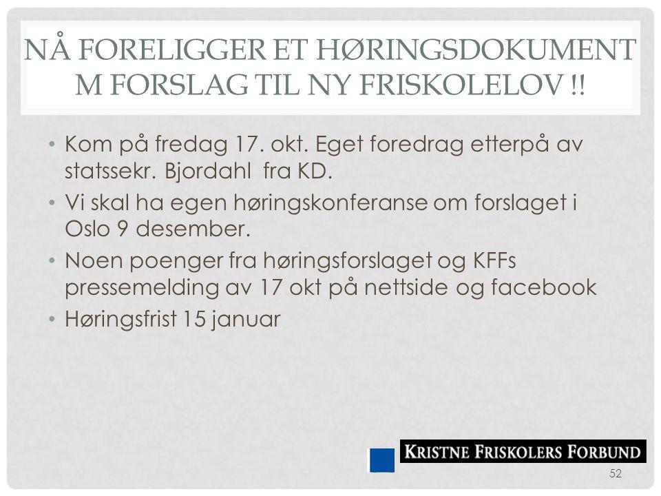 Nå foreligger et høringsdokument m forslag til Ny Friskolelov !!