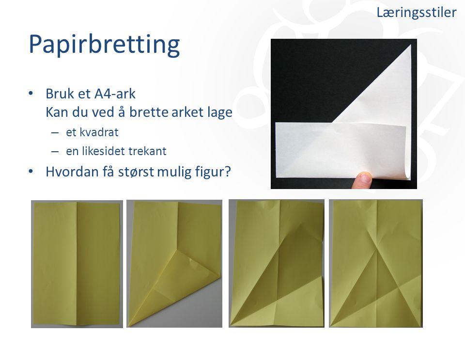 Papirbretting Læringsstiler