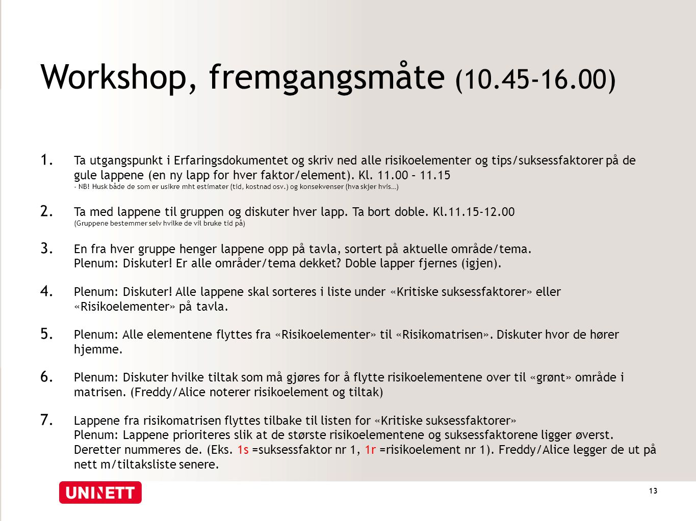 Workshop, fremgangsmåte (10.45-16.00)