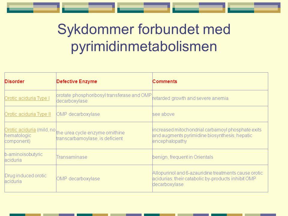 Sykdommer forbundet med pyrimidinmetabolismen
