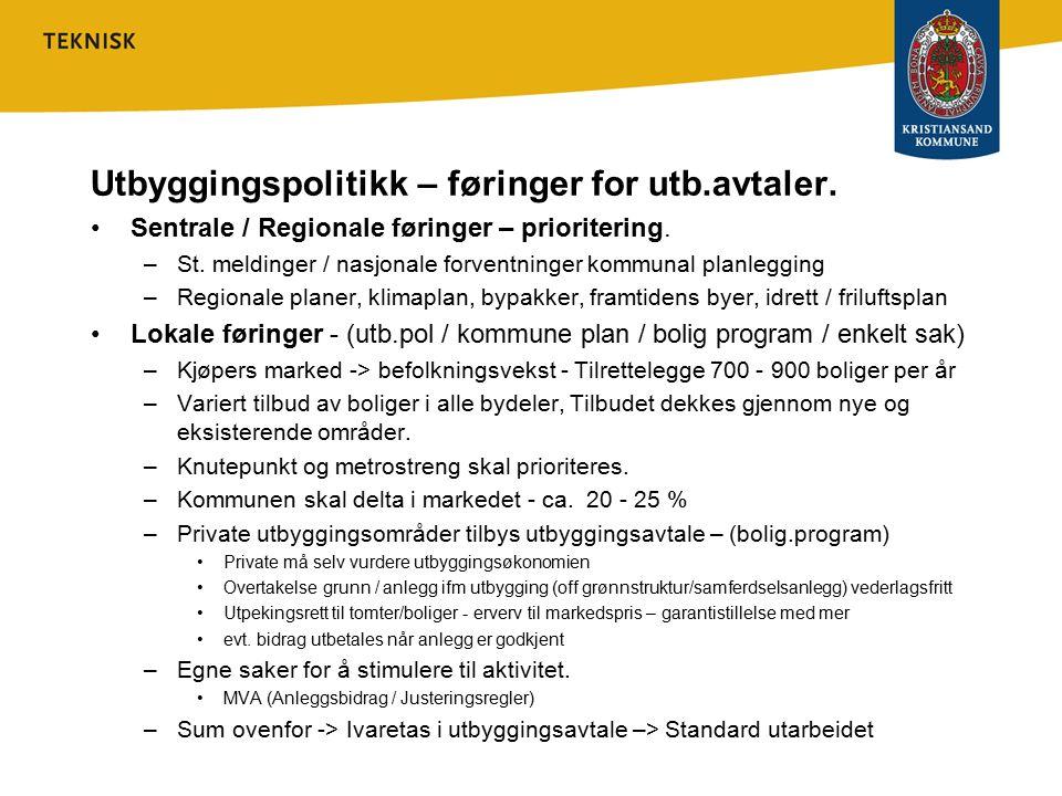 Utbyggingspolitikk – føringer for utb.avtaler.
