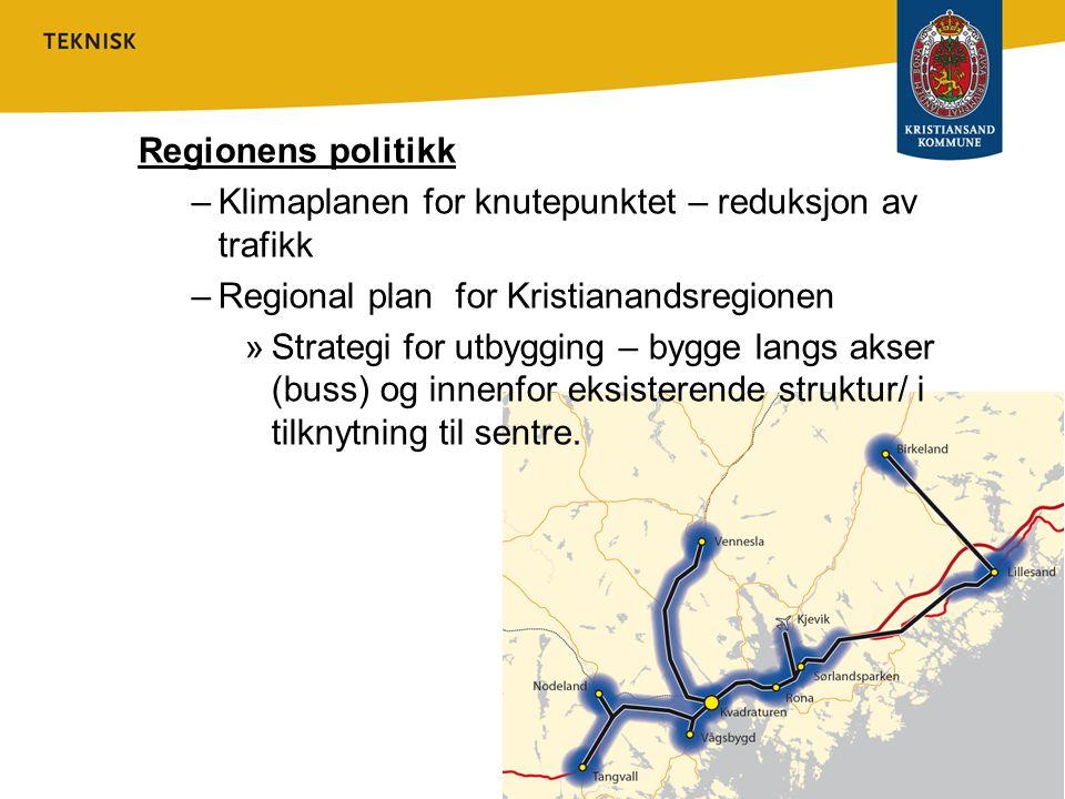 Regionens politikk Klimaplanen for knutepunktet – reduksjon av trafikk. Regional plan for Kristianandsregionen.