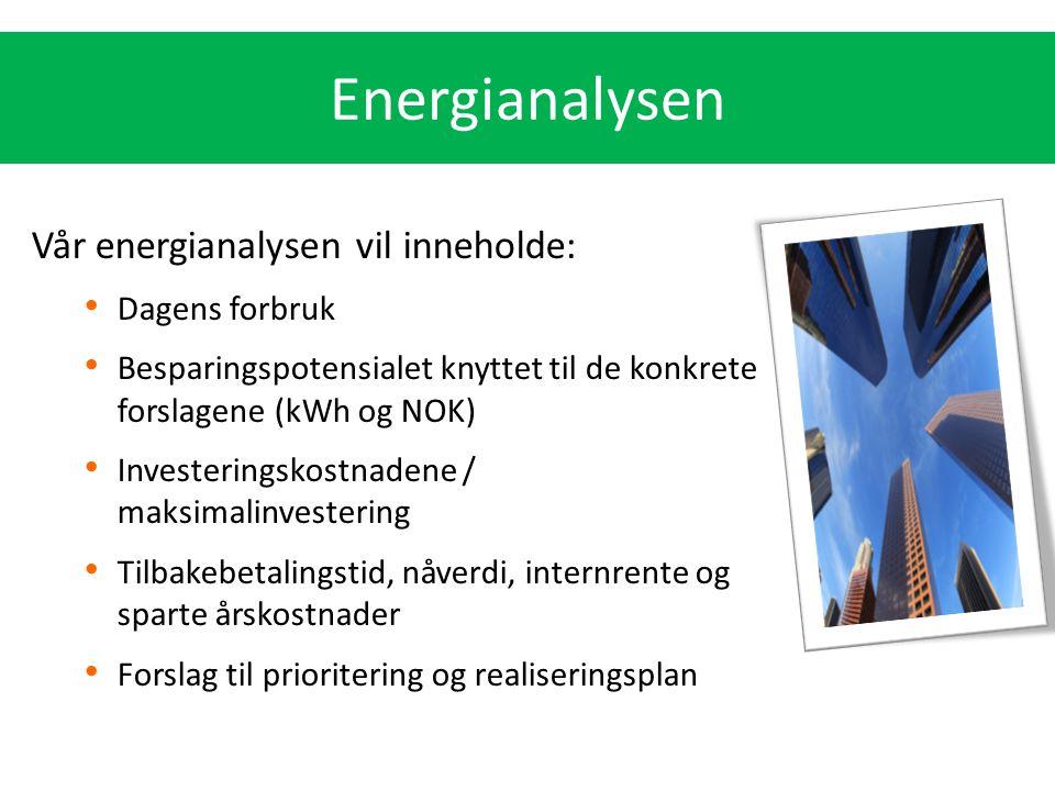 Energianalysen Vår energianalysen vil inneholde: Dagens forbruk