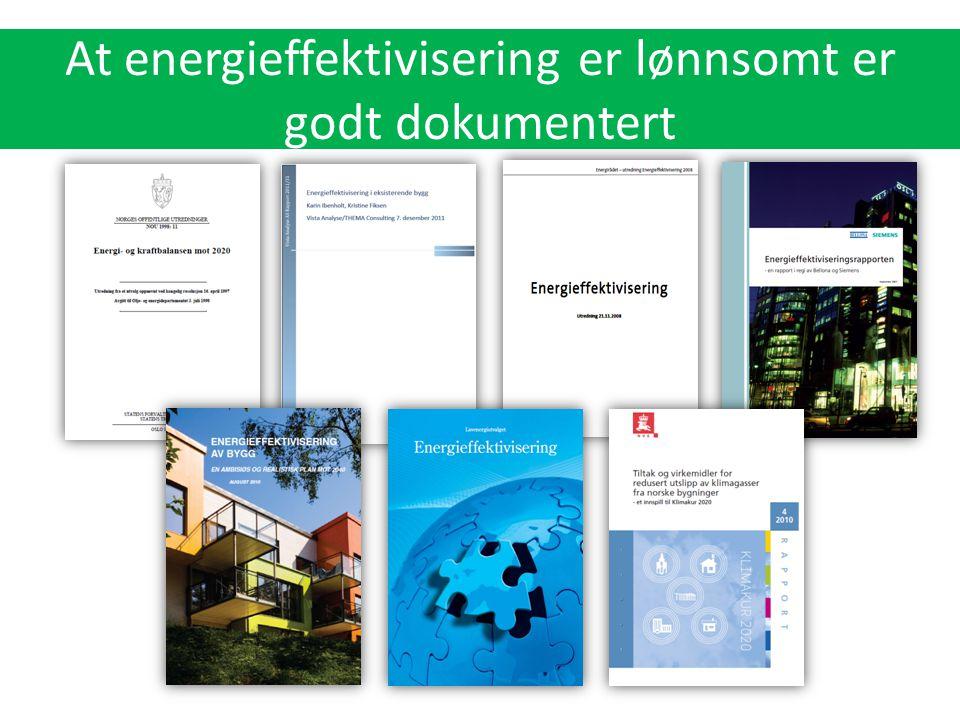 At energieffektivisering er lønnsomt er godt dokumentert