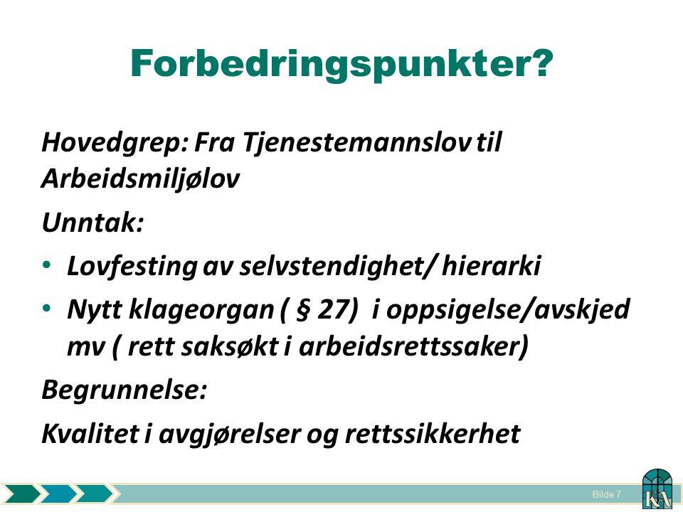 Forbedringspunkter Hovedgrep: Fra Tjenestemannslov til Arbeidsmiljølov. Unntak: Lovfesting av selvstendighet/ hierarki.