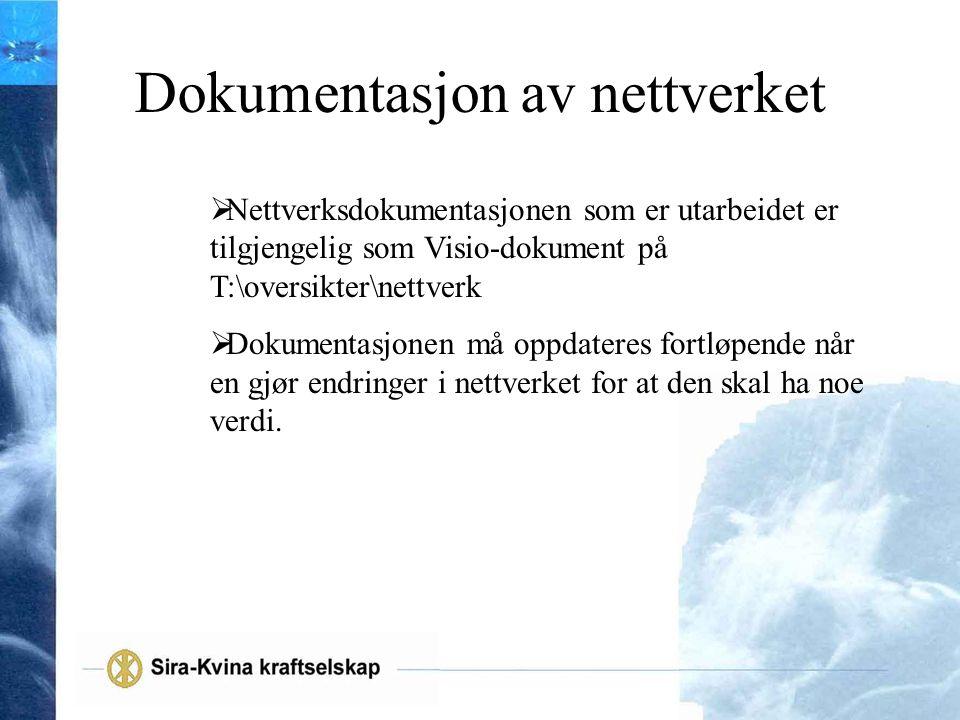 Dokumentasjon av nettverket