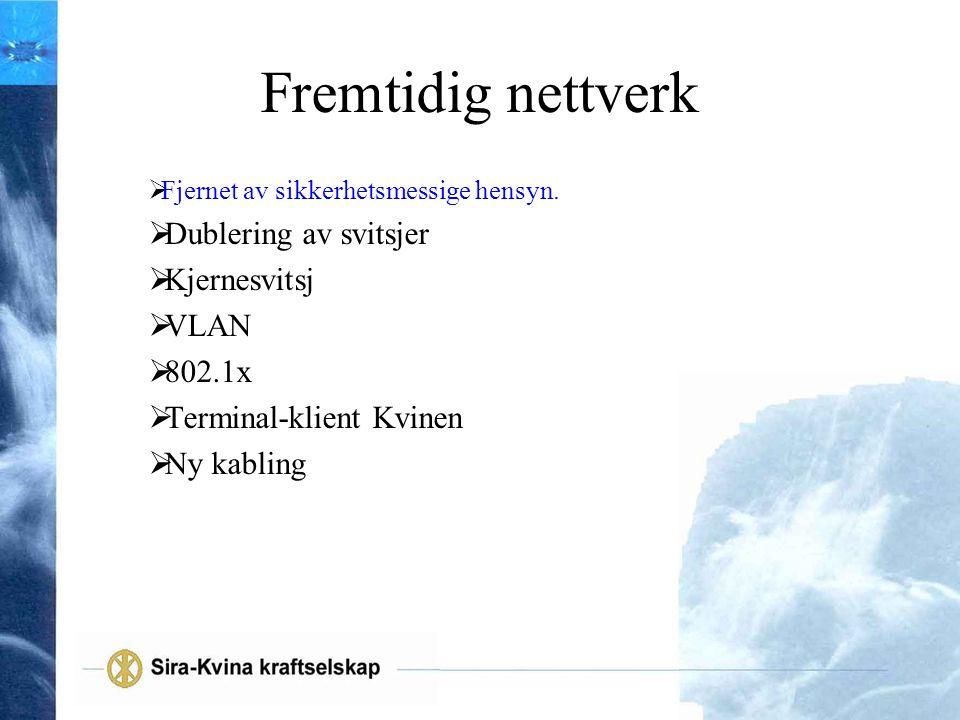 Fremtidig nettverk Dublering av svitsjer Kjernesvitsj VLAN 802.1x