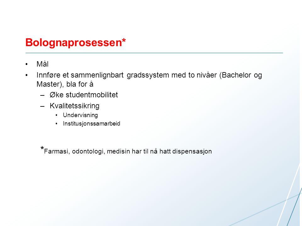 Bolognaprosessen* Mål. Innføre et sammenlignbart gradssystem med to nivåer (Bachelor og Master), bla for å.